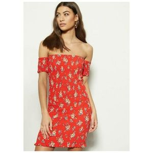 Womens Red Floral Off The Shoulder Dress